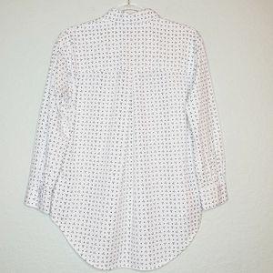 Madewell Tops - MADEWELL White Shrunken Trapeze Penpoint Dot Shirt